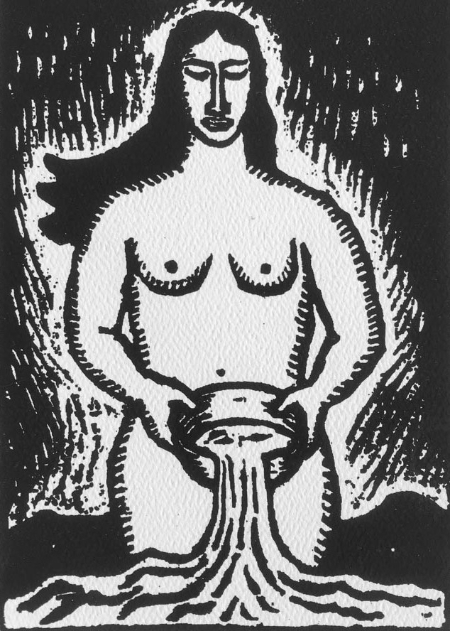 Black and white print drawing of naked woman pouring liquid from a tipped-over bowl. Design and print Taller Leñateros, San Cristóbal de las Casas, Chiapas, Mexico.